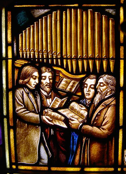 439 paid singers stained glass