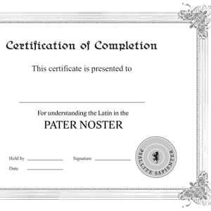 Pater noster certificate